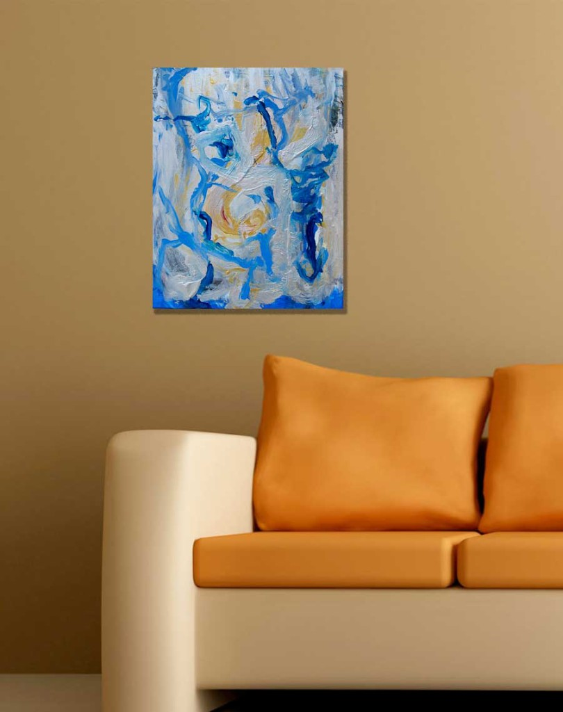 Blue and silver organic abstract painting in front of an orange couch.